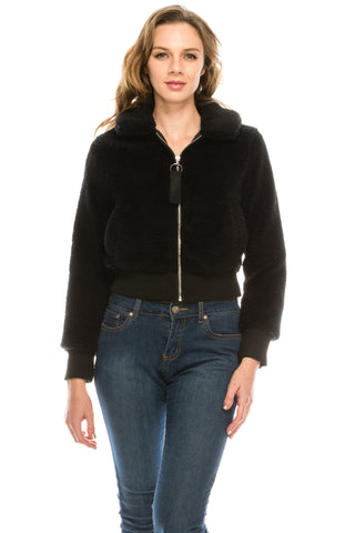 Women's Sherpa Faux Fur Coat Lapel Fleece Shearling Cropped Jacket