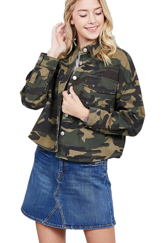 Khanomak Women's Long Sleeve Front Pocket Crop Camo Print Jacket