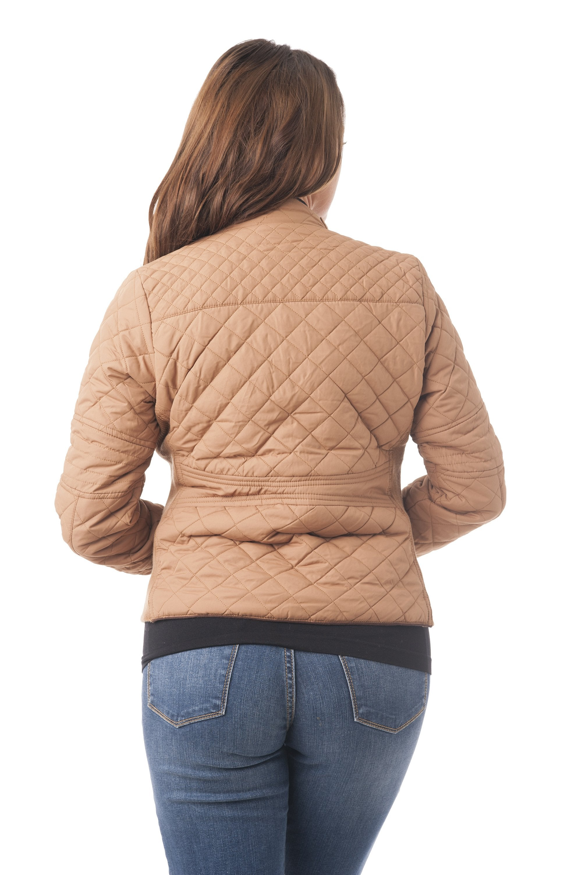 Quilted Padding Jacket With Suede Piping Detail
