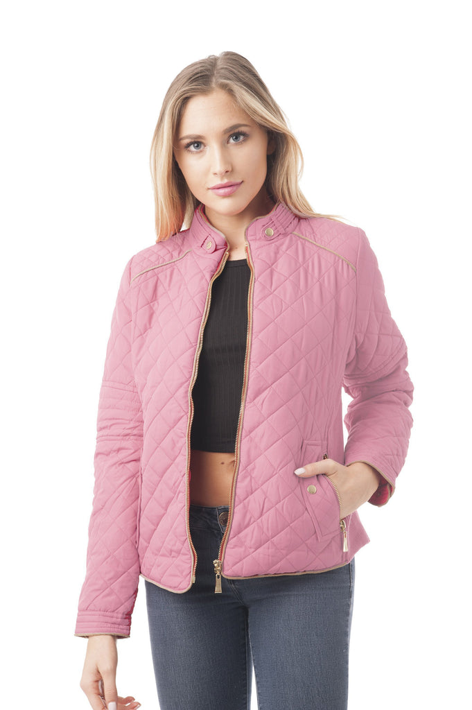 Women's Quilted Padding Jacket With Suede Piping Detail