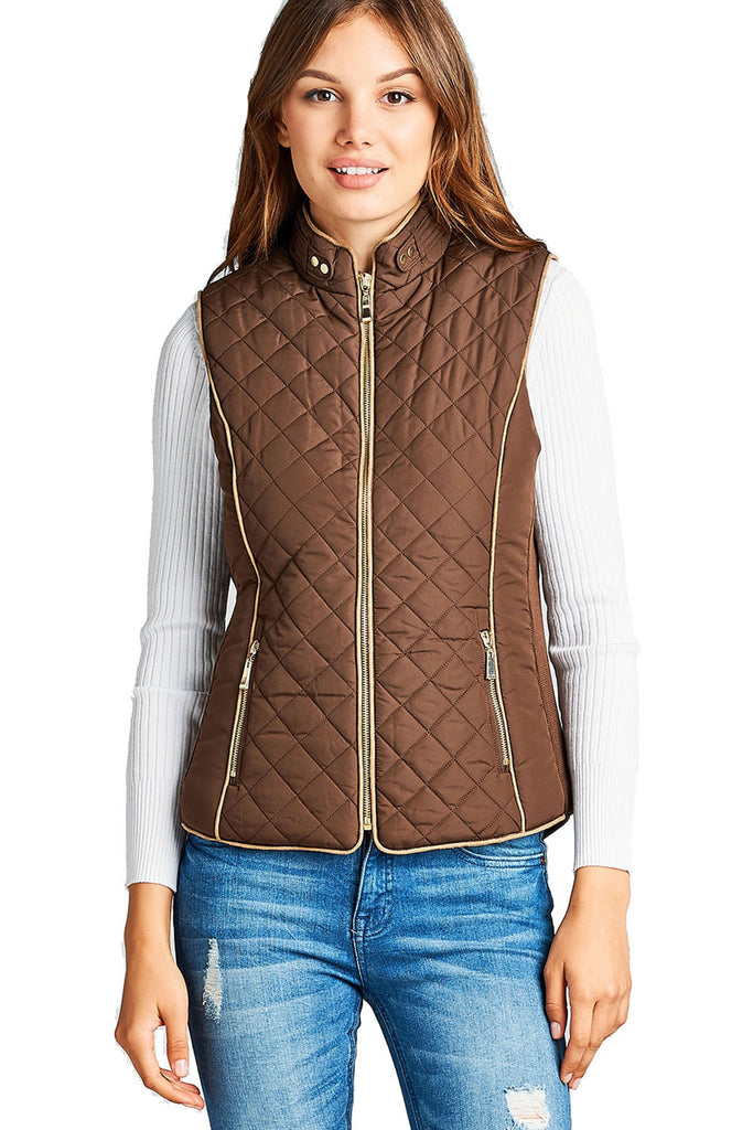 Khanomak Women's Faux Shearling Lined Quilted Padding Vest