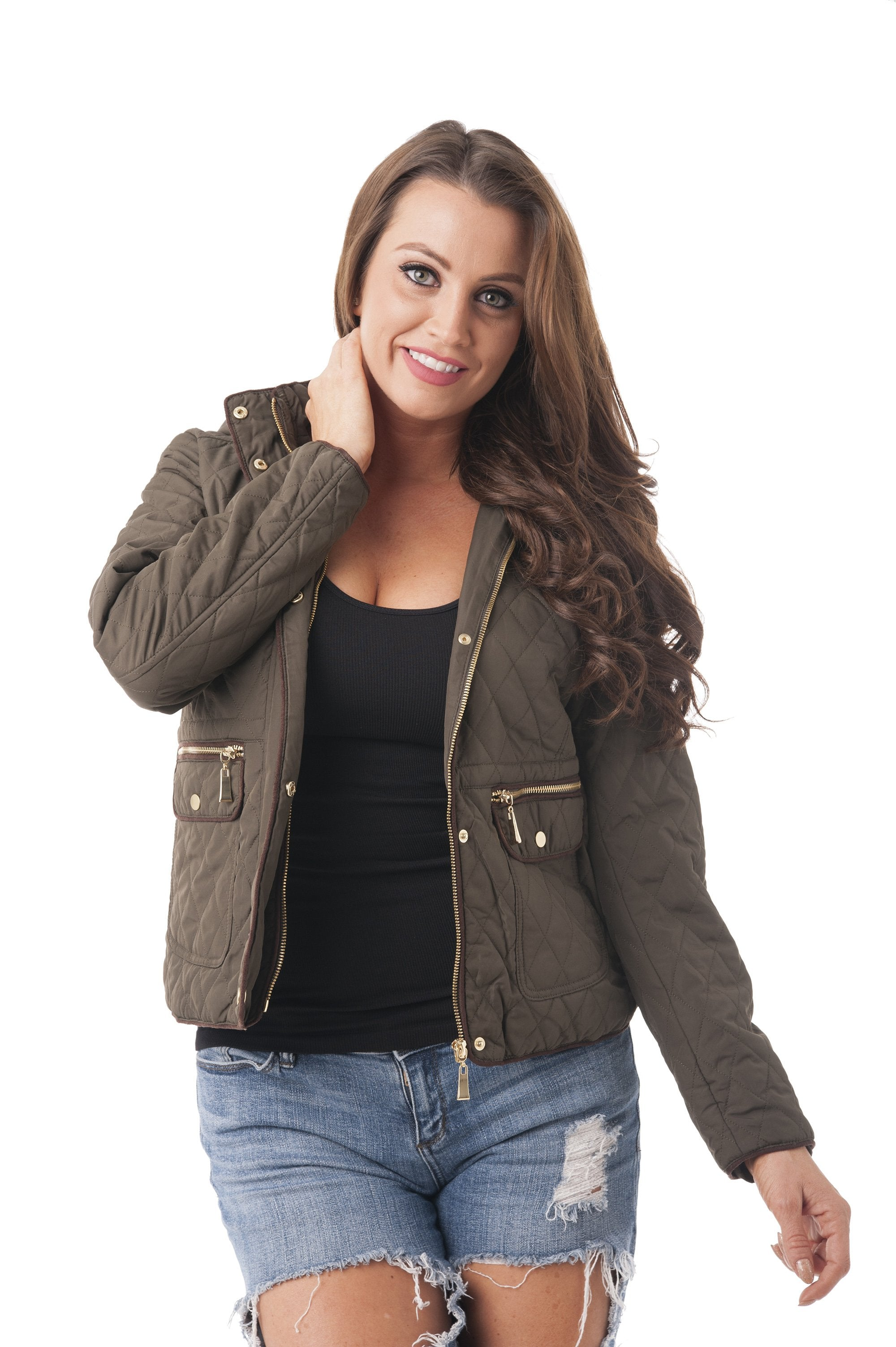 Waist Drawstring Quilted Padding Hoodie Jacket