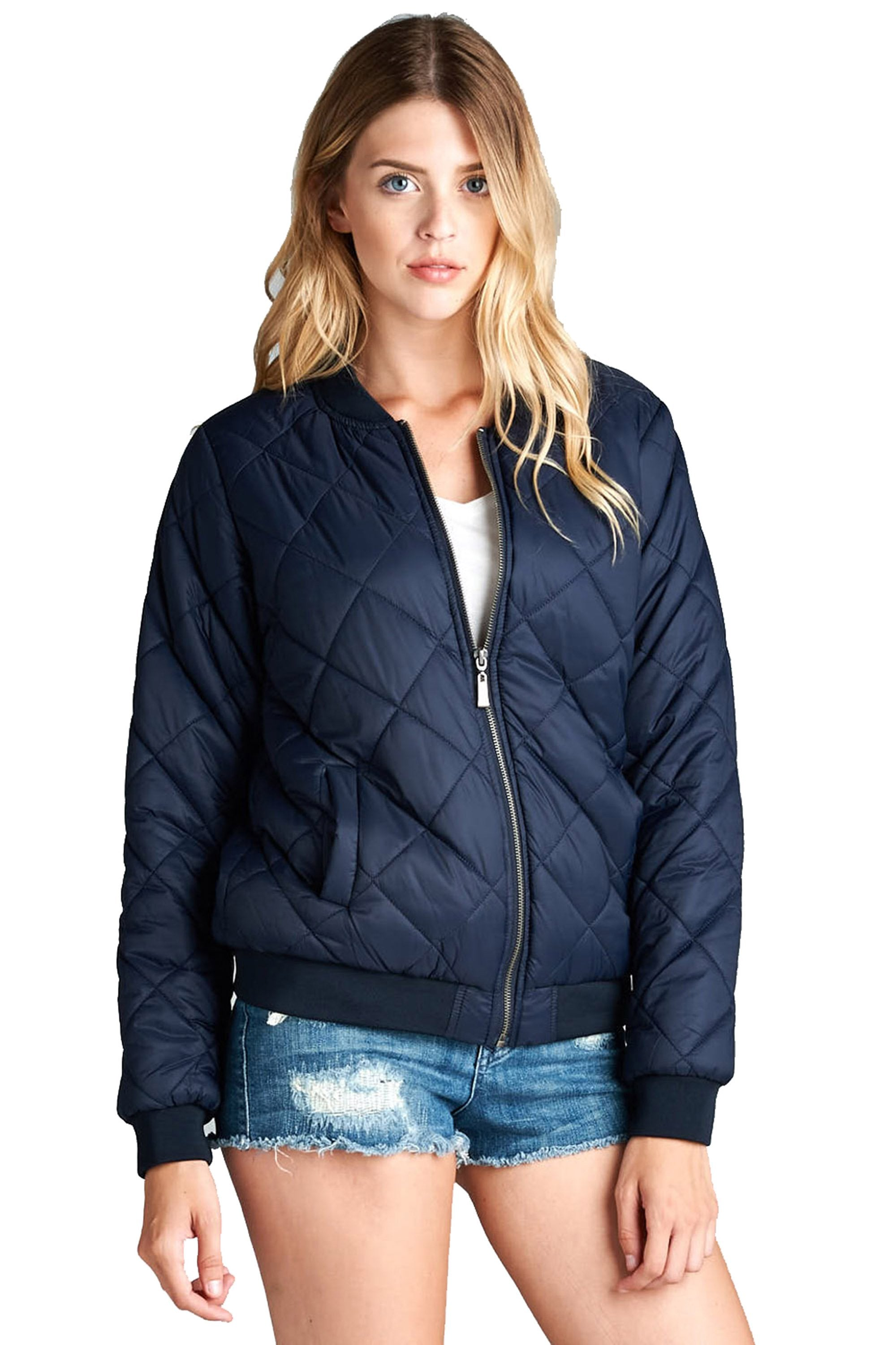 Long Sleeve Zip Up Front Quilted Padded Stand Up Collar Ribbed Bomber Jacket