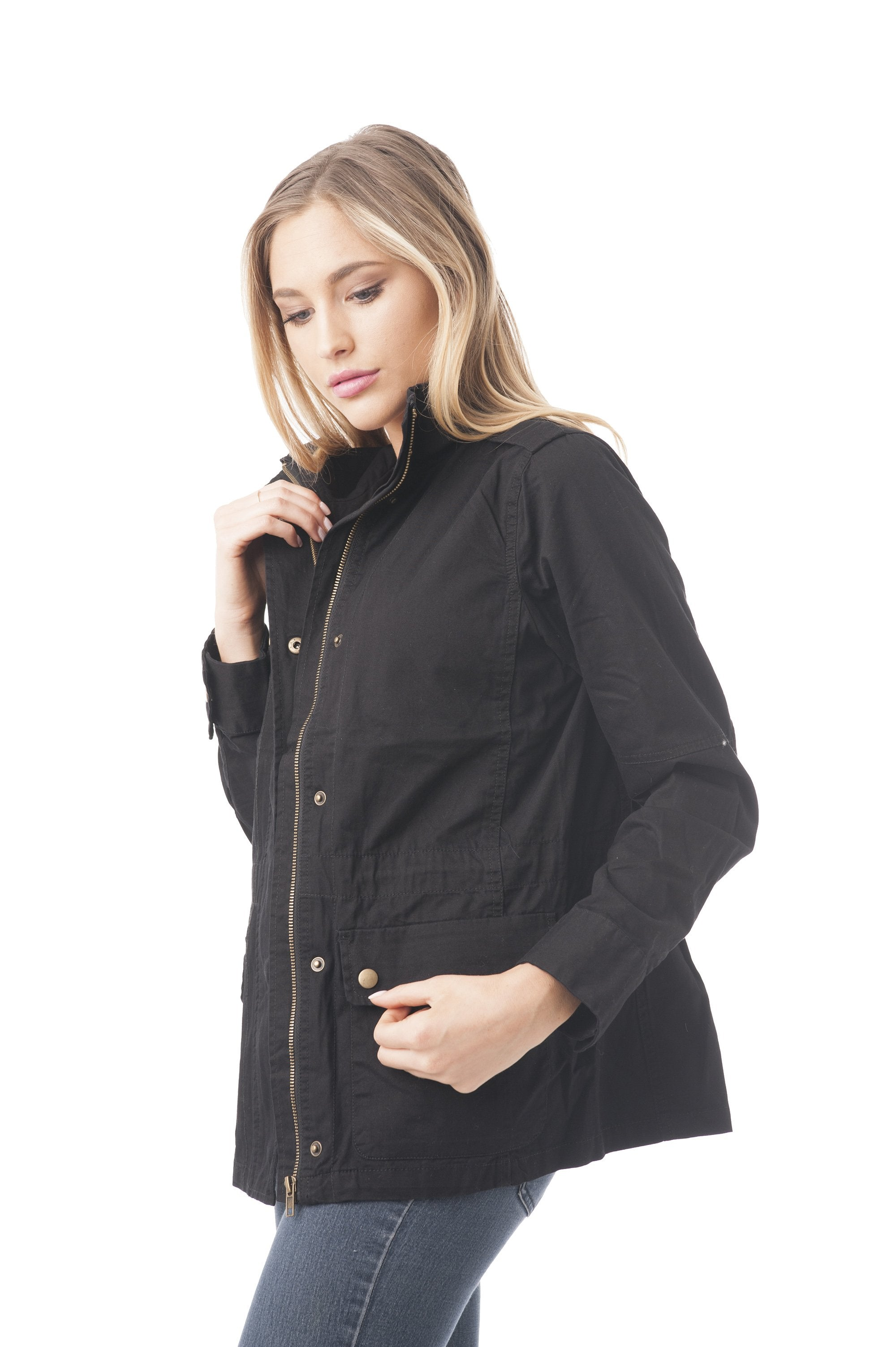 Standing Collar Back Elastic Band Utility Jacket