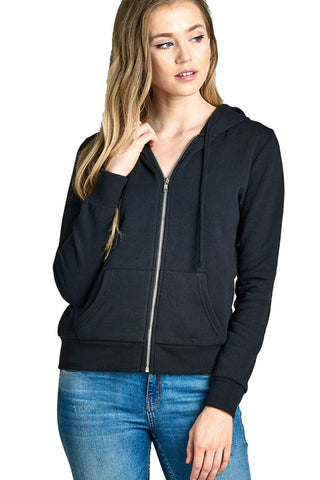 Khanomak Women's Long Sleeve Inner Brushed Zip Up Hoodie Jacket