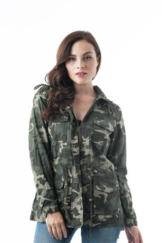 Camouflage Print Drawstring Waist With Hoodie Cotton Utility Jacket