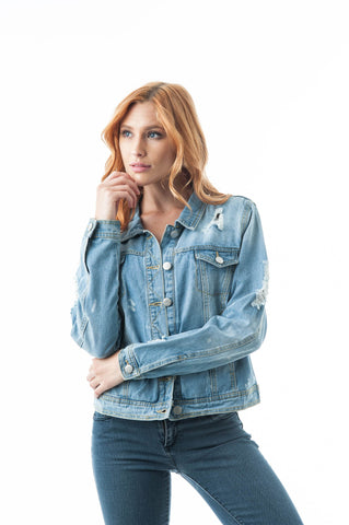 Classic Denim Distressed Bleach Spot Splatter Buttoned Front Jean Jacket