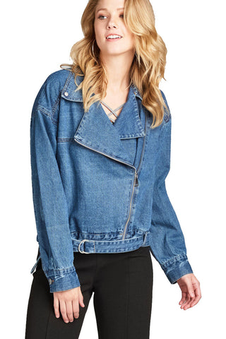 Khanomak Women's Notched Lapel Asymmetric Zip Moto Denim Jacket