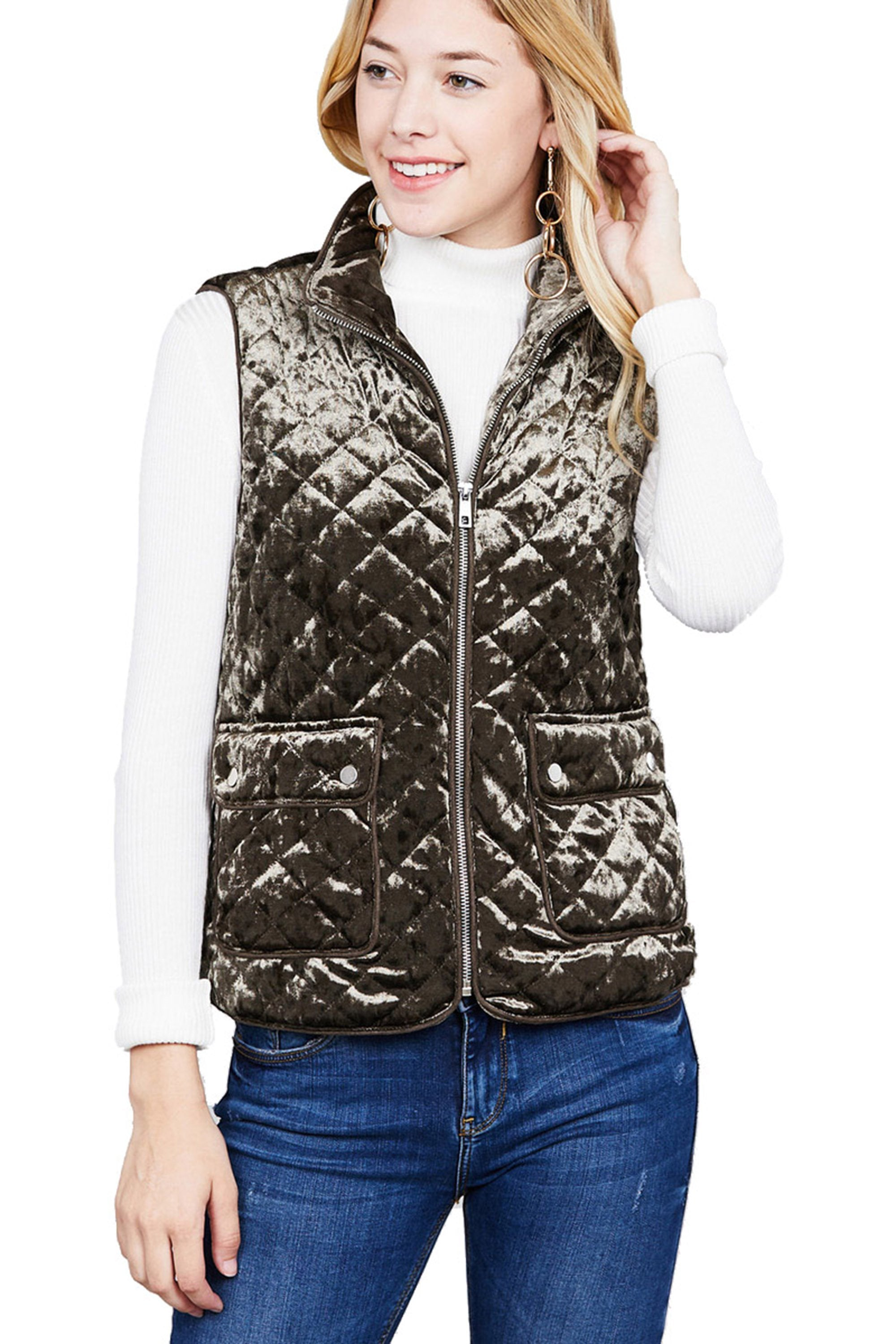 Khanomak Women's Quilted Padding Piping Detail Velvet Vest