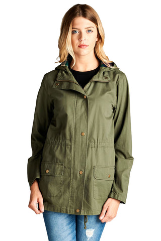 Khanomak Women's Plus Size Lightweight Long Utility Hooded Jacket