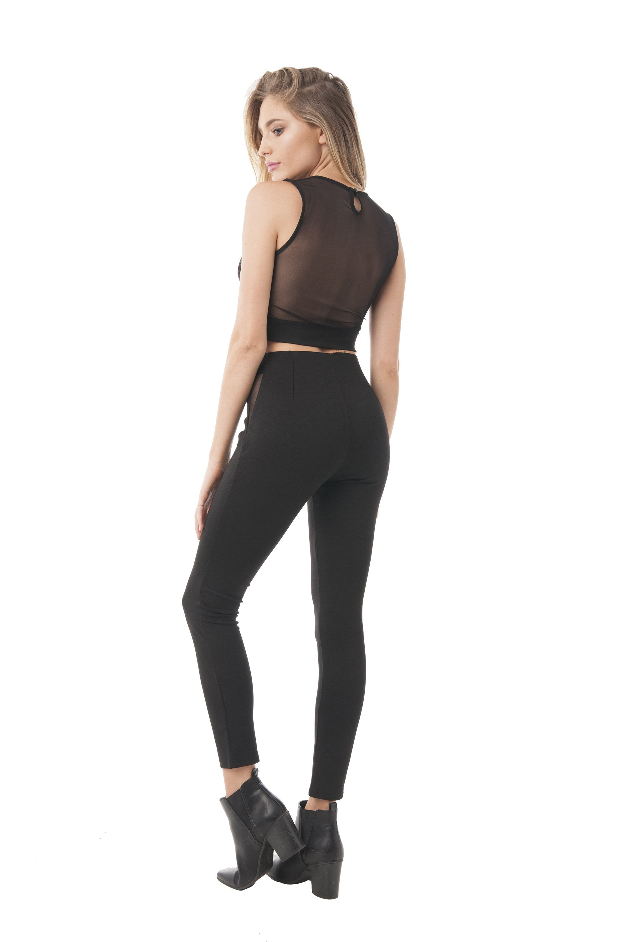 Khanomak Sleeveless Crop Top with Open Back and Deep V Mesh