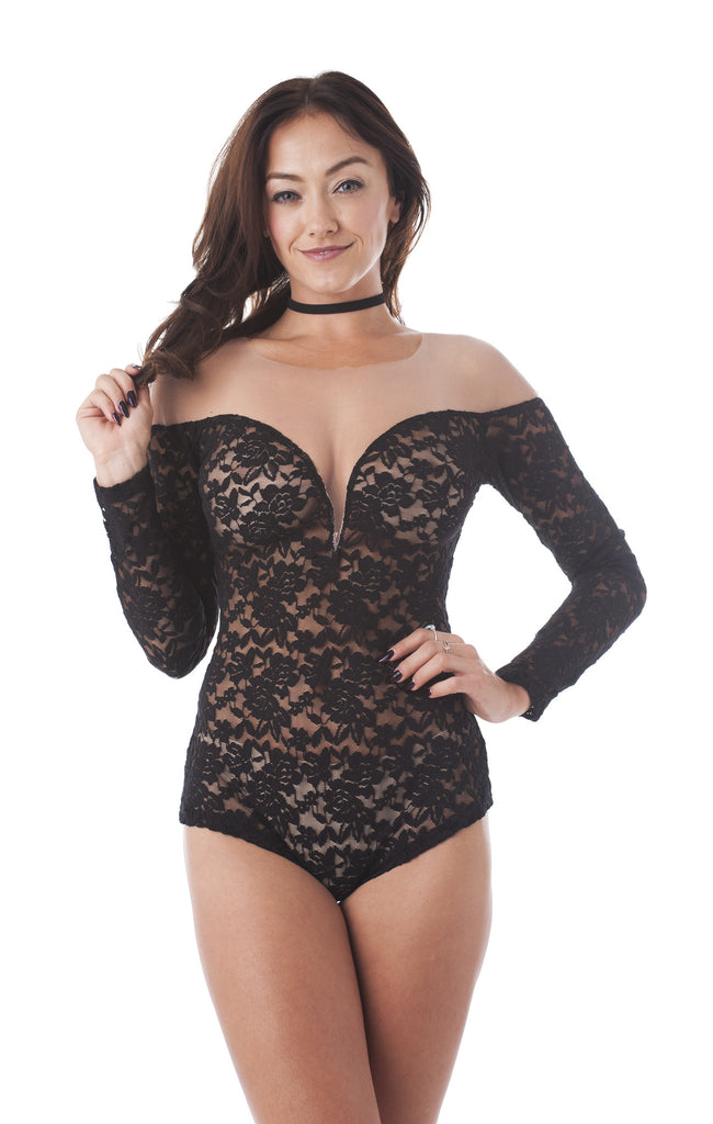 Khanomak Long Sleeve Deep V Neck Lace Mesh Illusion Bodysuit