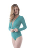 Khanomak Long Sleeve Deep V-Neck Strappy Front Bodysuit