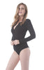 Khanomak Long Sleeve Crewneck Buttoned Ribbed Bodysuit
