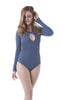 Khanomak Women's Long Sleeve Front Cut-Out Bodysuit
