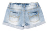 Khanomak Kids Girls' Denim Snap Button Rolled Up Shorts