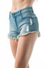 Khanomak Denim Distressed Shorts With Patches