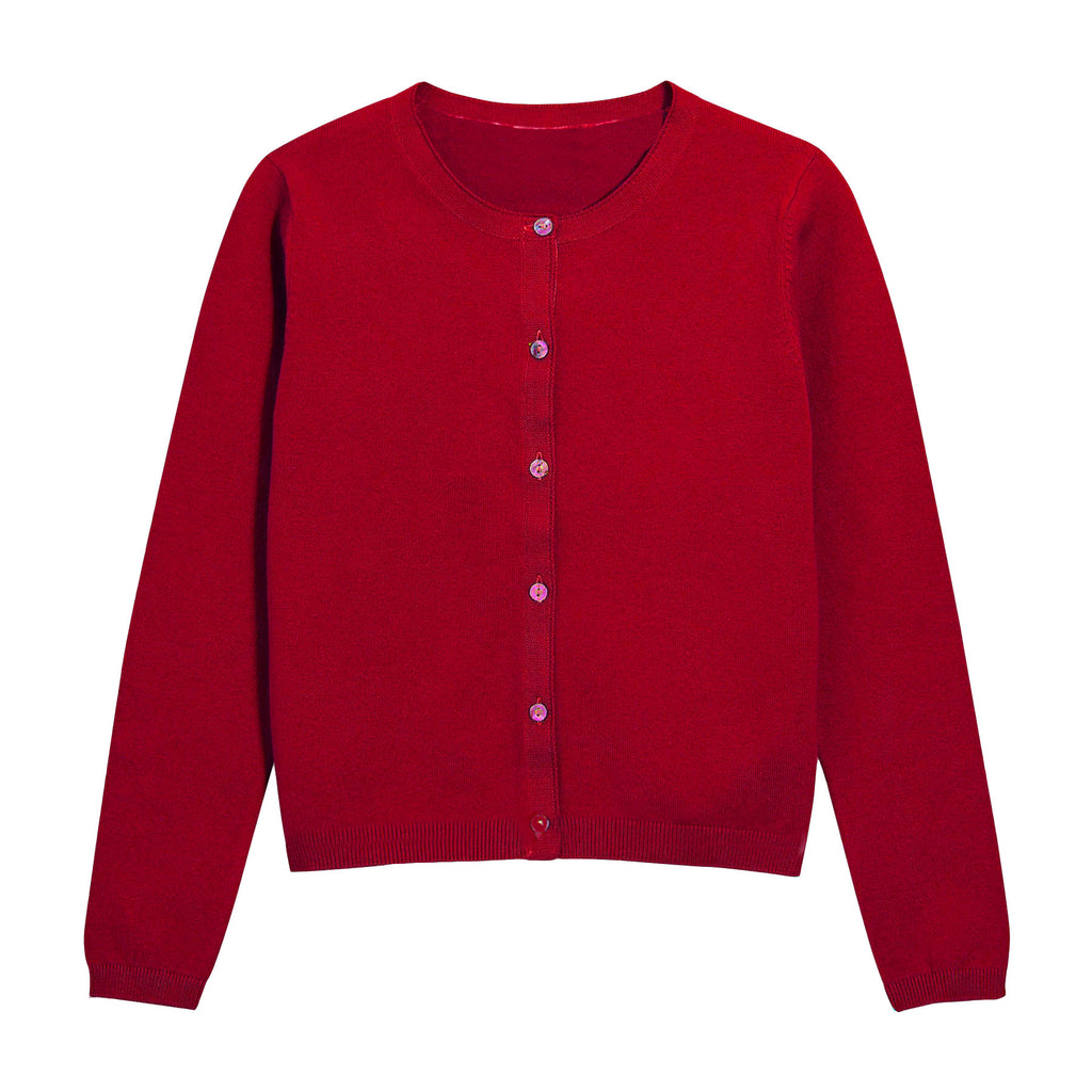 Khanomak Girls Crew Neck Cardigan
