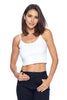 Women's Spaghetti Strap Round Neck Basic Rib Cami Crop Tank Top