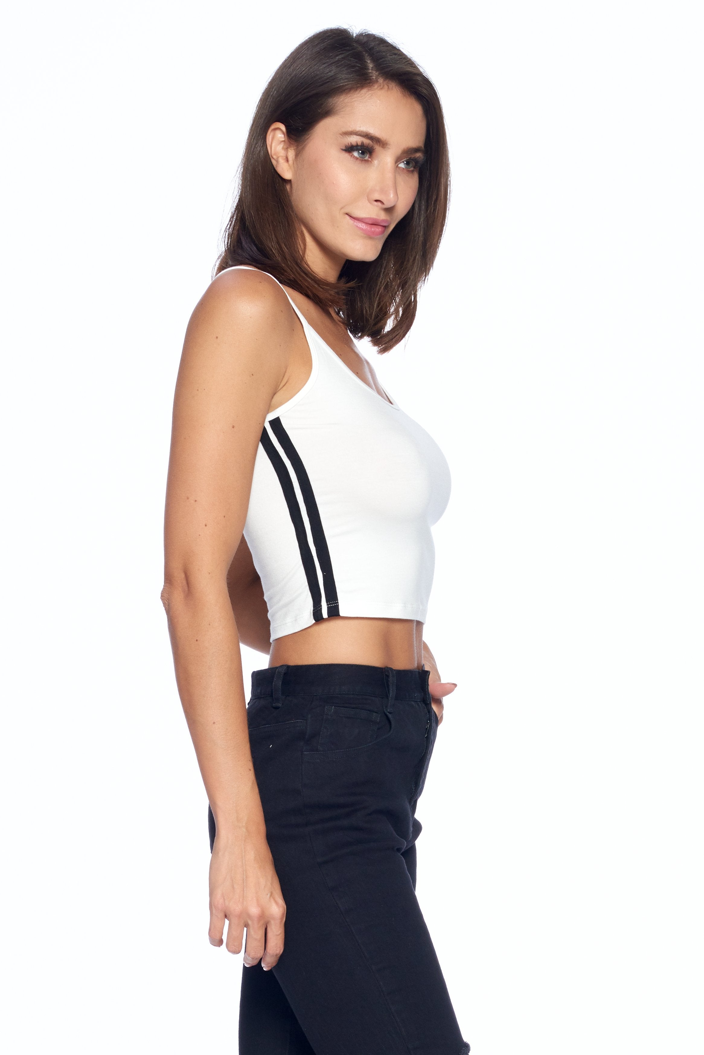 Women's Spaghetti Strap With Side Stripe Scoop Neck Top