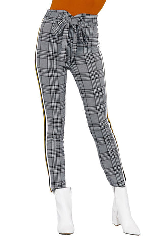 Khanomak Women's Vintage Pencil Hight Waist Checkered Side Striped Belted Pants