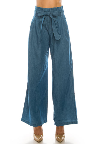 Loose fit high waist paper bag belted denim pants for women