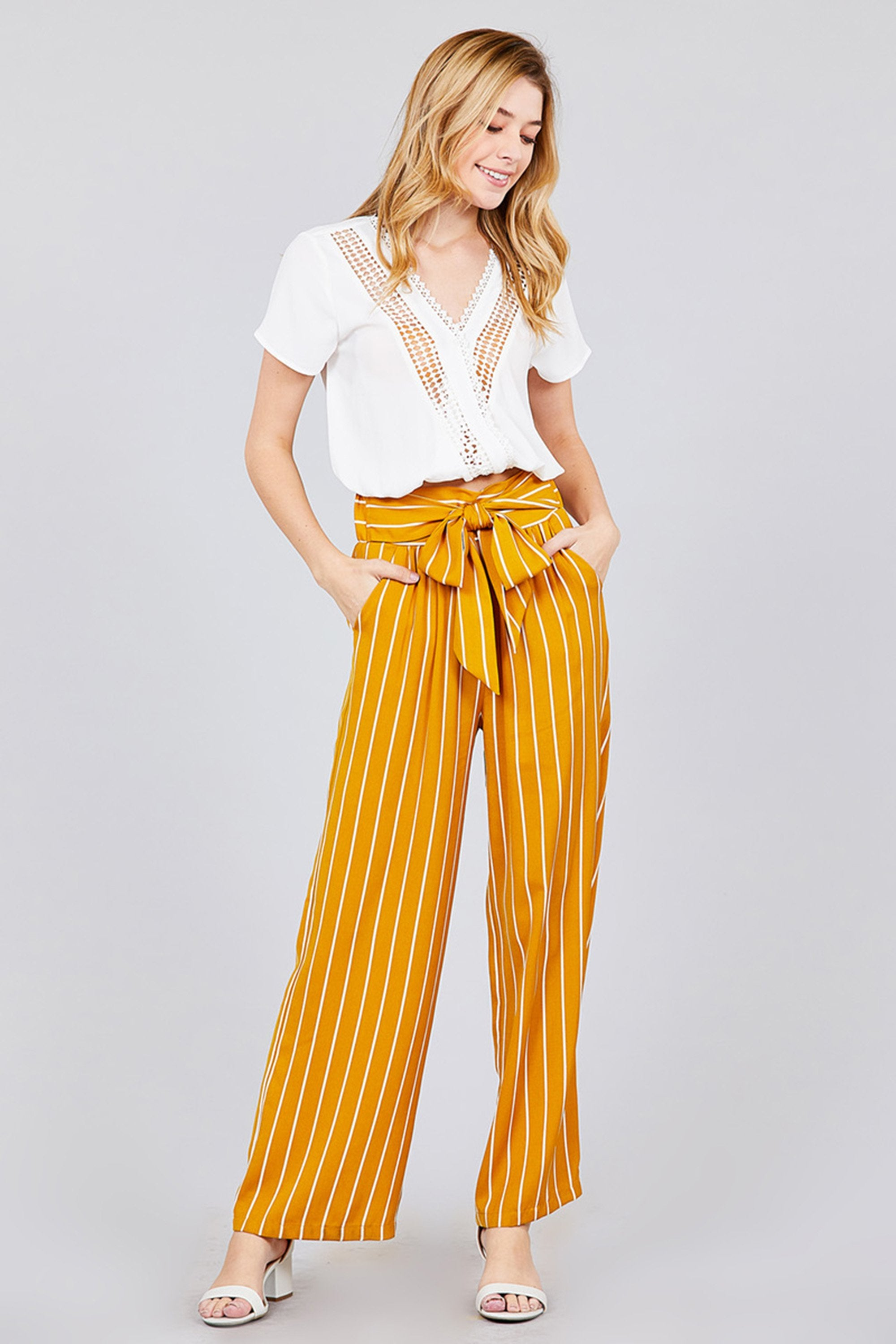 Womens High Waist With Self Tie Belt Wide Leg Stripe Long Pants