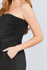 Women Strapless Tube Top Rayon Black Jumpsuit with Front Slanted & Pocket - Small