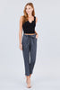 Women's Front Tie Out Pocket Linen Black Ankle Length Pants - Small