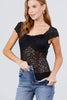 Women's Lace Short Sleeve Shoulder Strap Front Shirring Leotard Black Bodysuit - Small