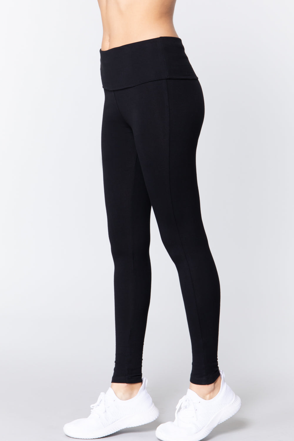 Women's Waist Banded Long Black Yoga Pants Small