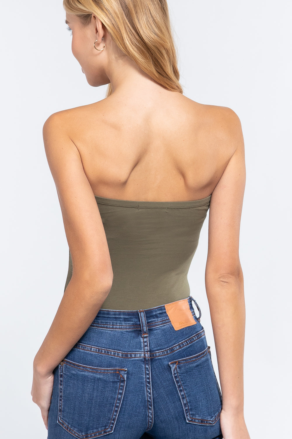 Women's Casual Sleeveless Stretchy Cotton Strapless Sexy Tube Top Bodysuit