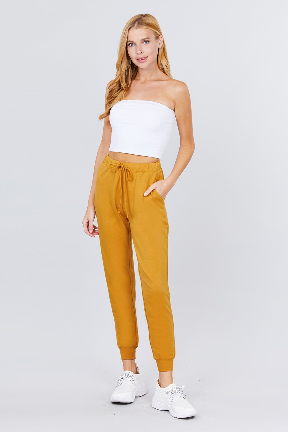Plain Long Drawstring Waist Front Pockets French Terry Joggers
