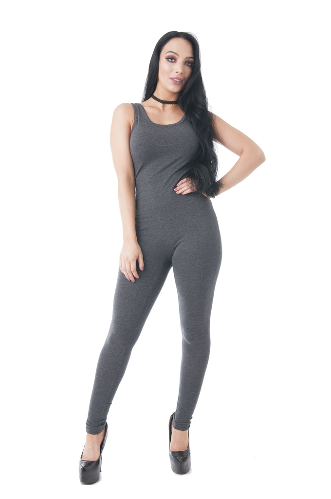 Sleeveless Solid Scoop-Neck Bodycon Jumpsuit