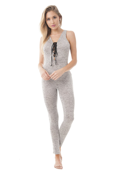 Sleeveless Round-Neck Front Lace Up Marled Jumpsuit