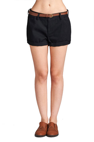 Women's Cotton Spandex Twill With Belt Cuffed Hem Pants Shorts