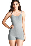 Spaghetti Strap Scoop Neck Plain Solid Cami Cotton Spandex Mini Short Romper