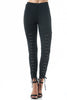Lace Up Front Skinny Ankle Ponte Legging Pants