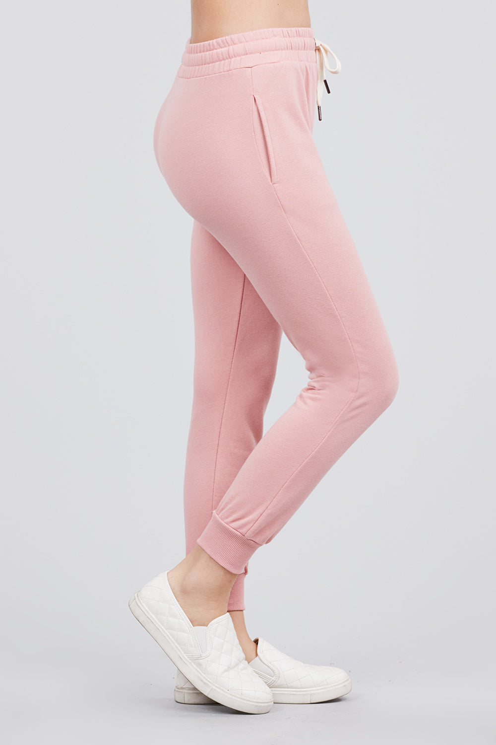 Women's Active Yoga French Terry Black Sweatpants Workout Joggers Pants