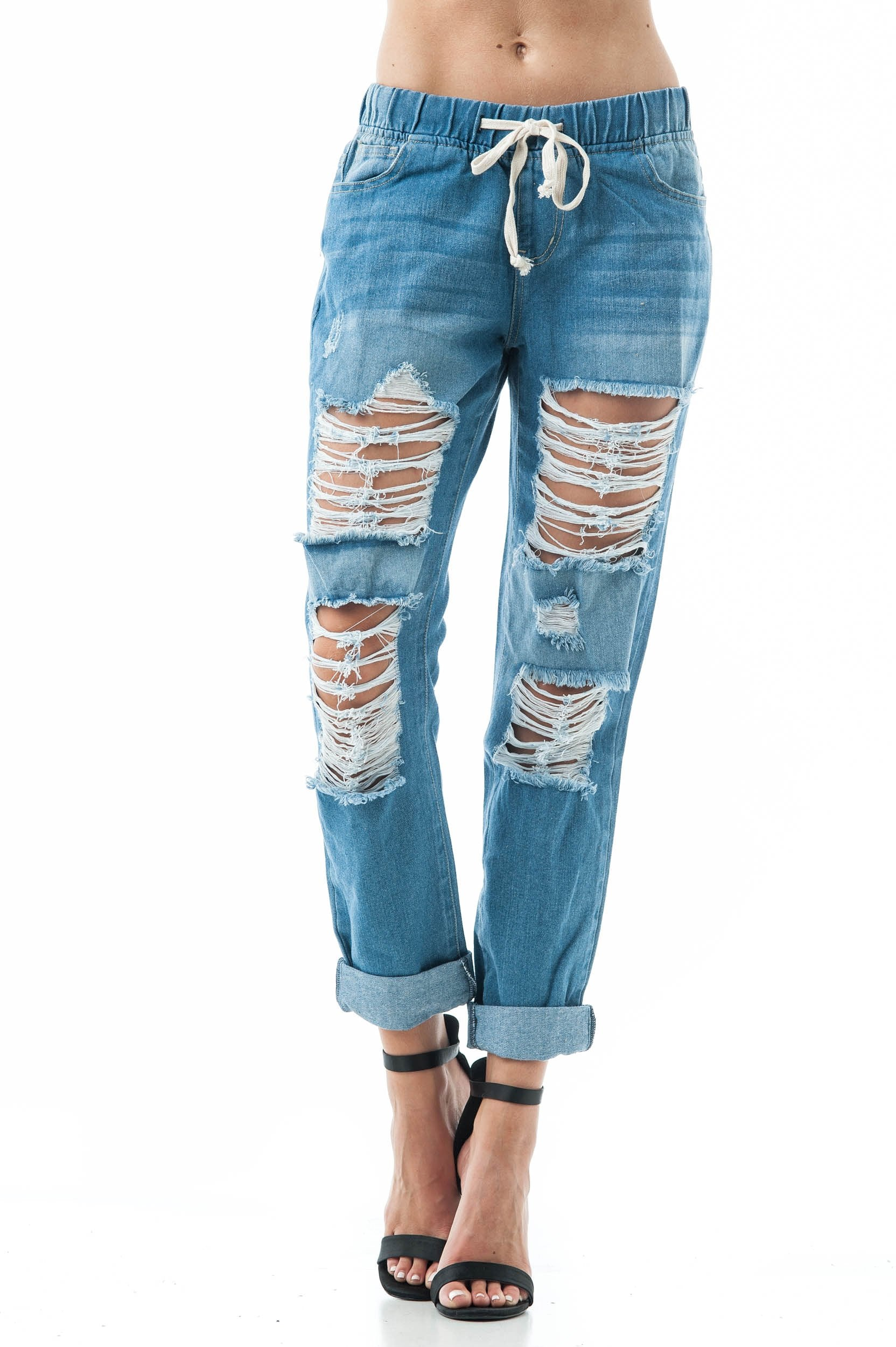 Drawstring Waist Ripped Distressed Loose Fit Boyfriend Jeans