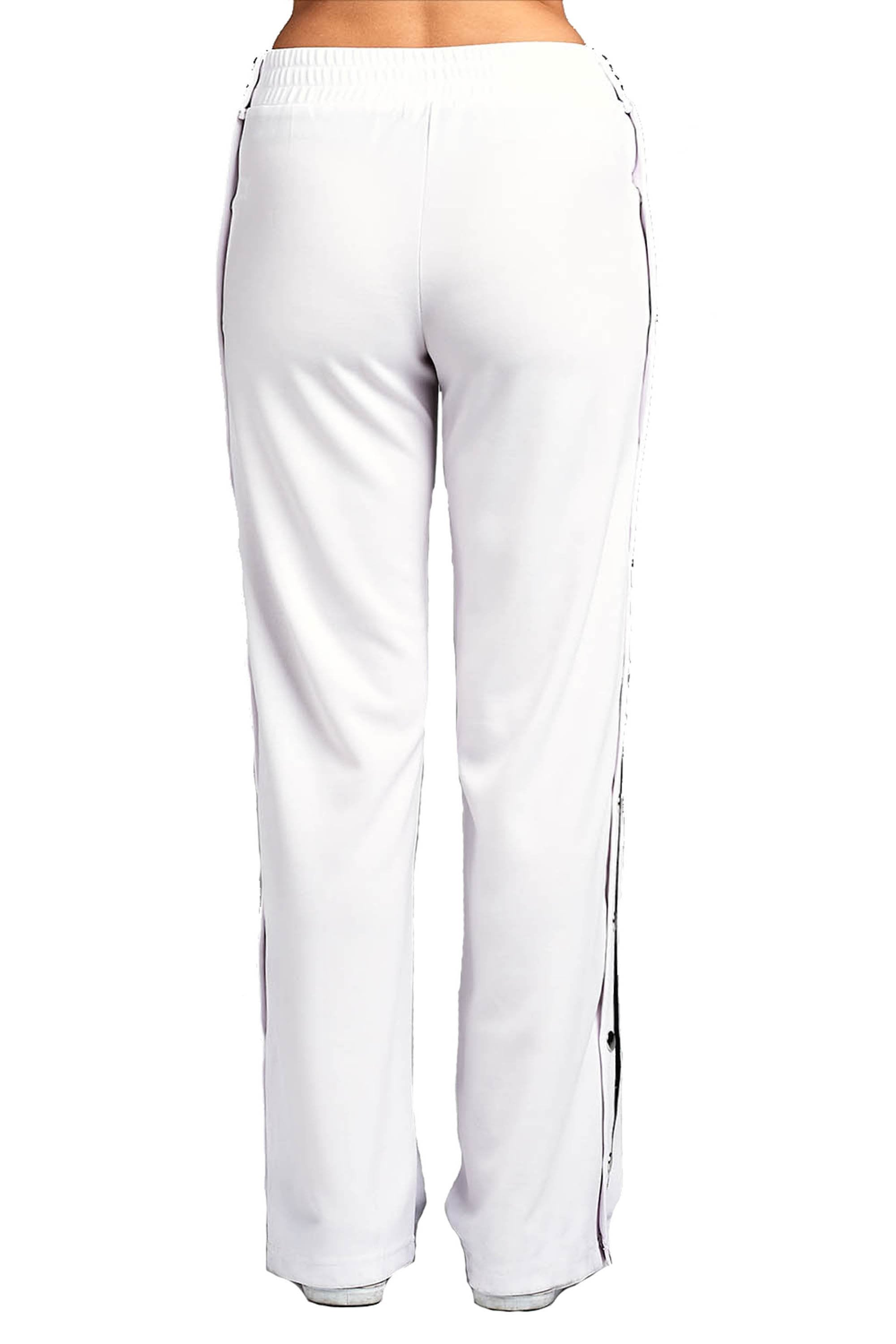 Elastic High Waist Wide Leg Side Split Stripe Snap-On Buttoned Casual Tearaway Long Sweatpants