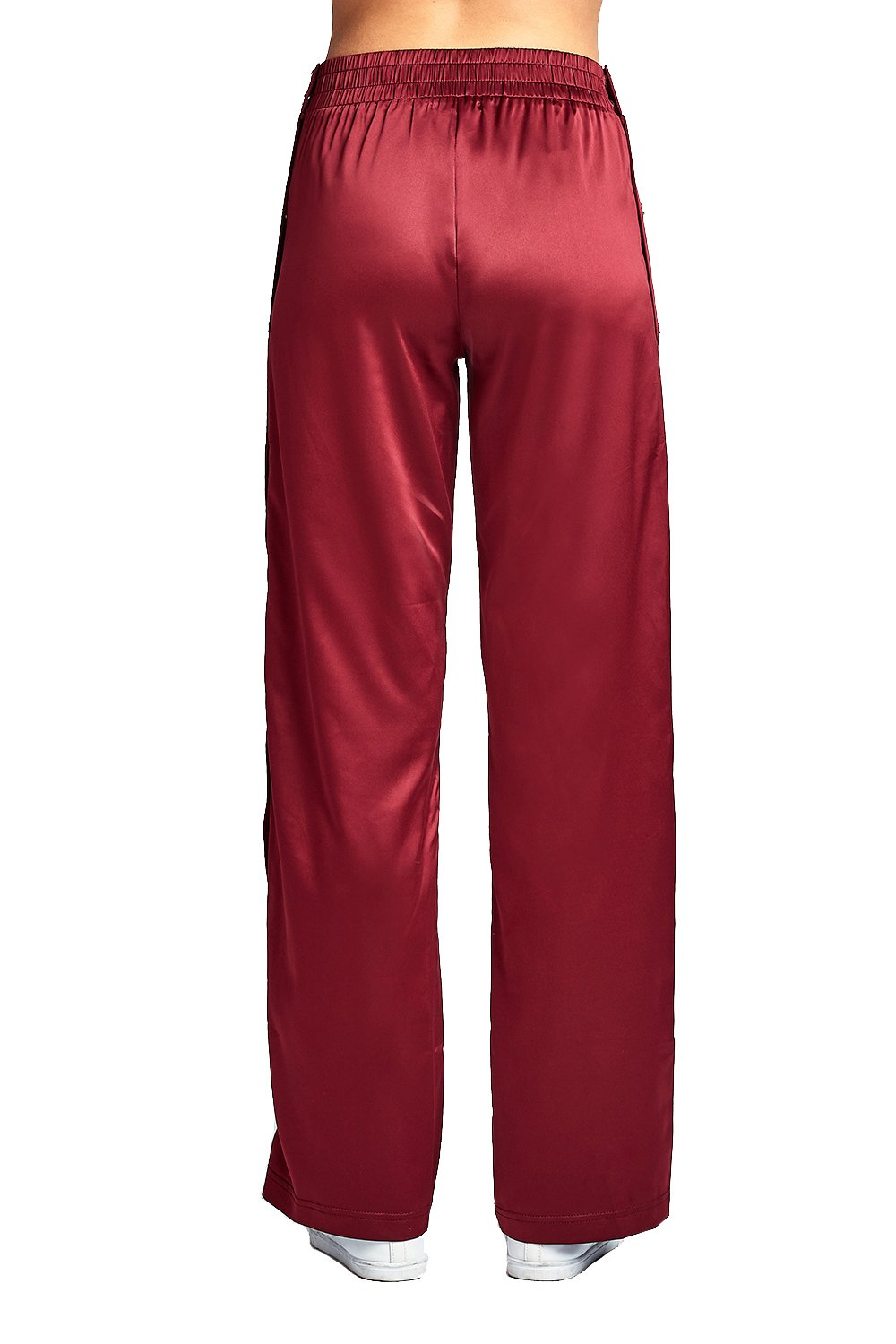 Elastic Waist Wide Leg Satin Side Snap-On Track Tearaway Long Pants
