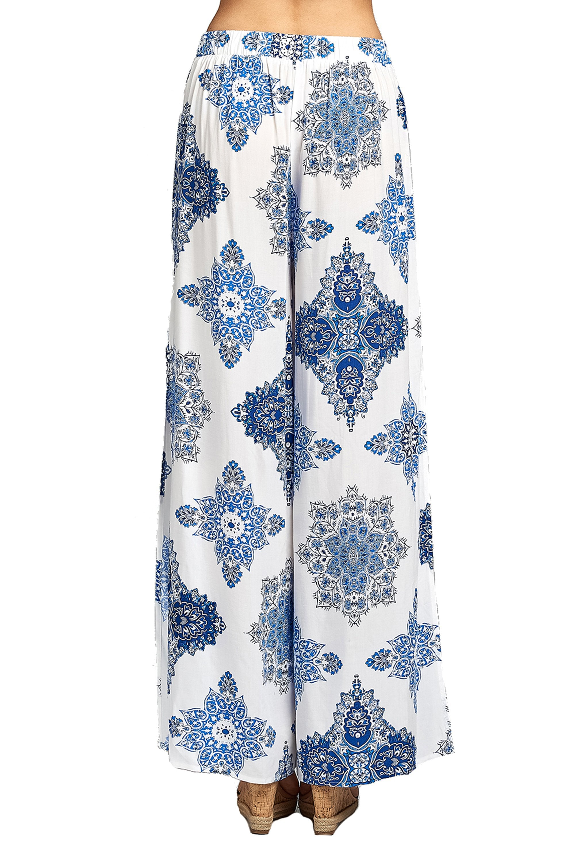 High Waist Allover Floral Print Flowy Maxi Slit Side Long Palazzo Pants