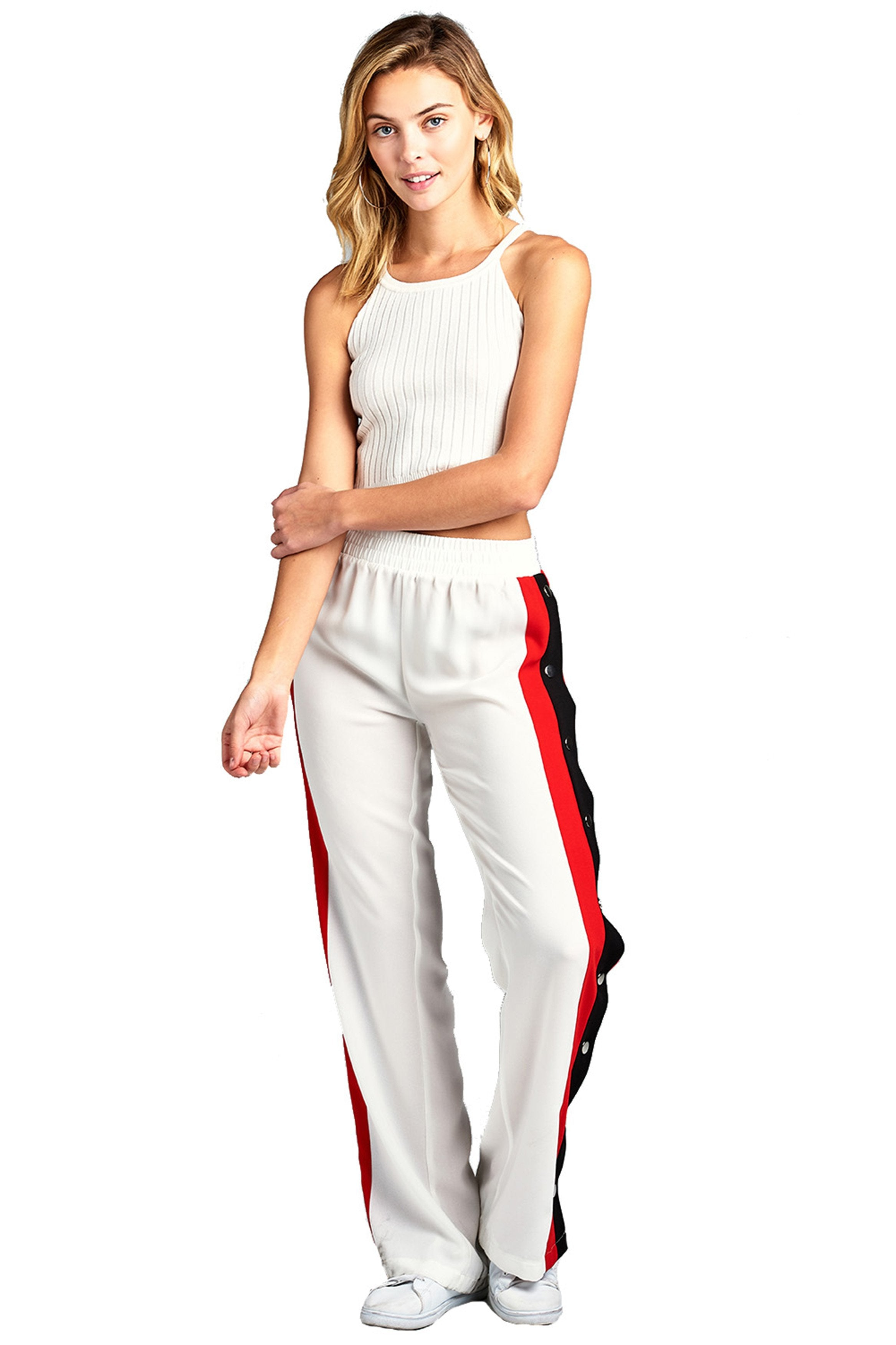 Elastic High Waist Wide Leg Side Split Stripe Contrast Snap-On Buttoned Tearaway Long Chiffon Pants