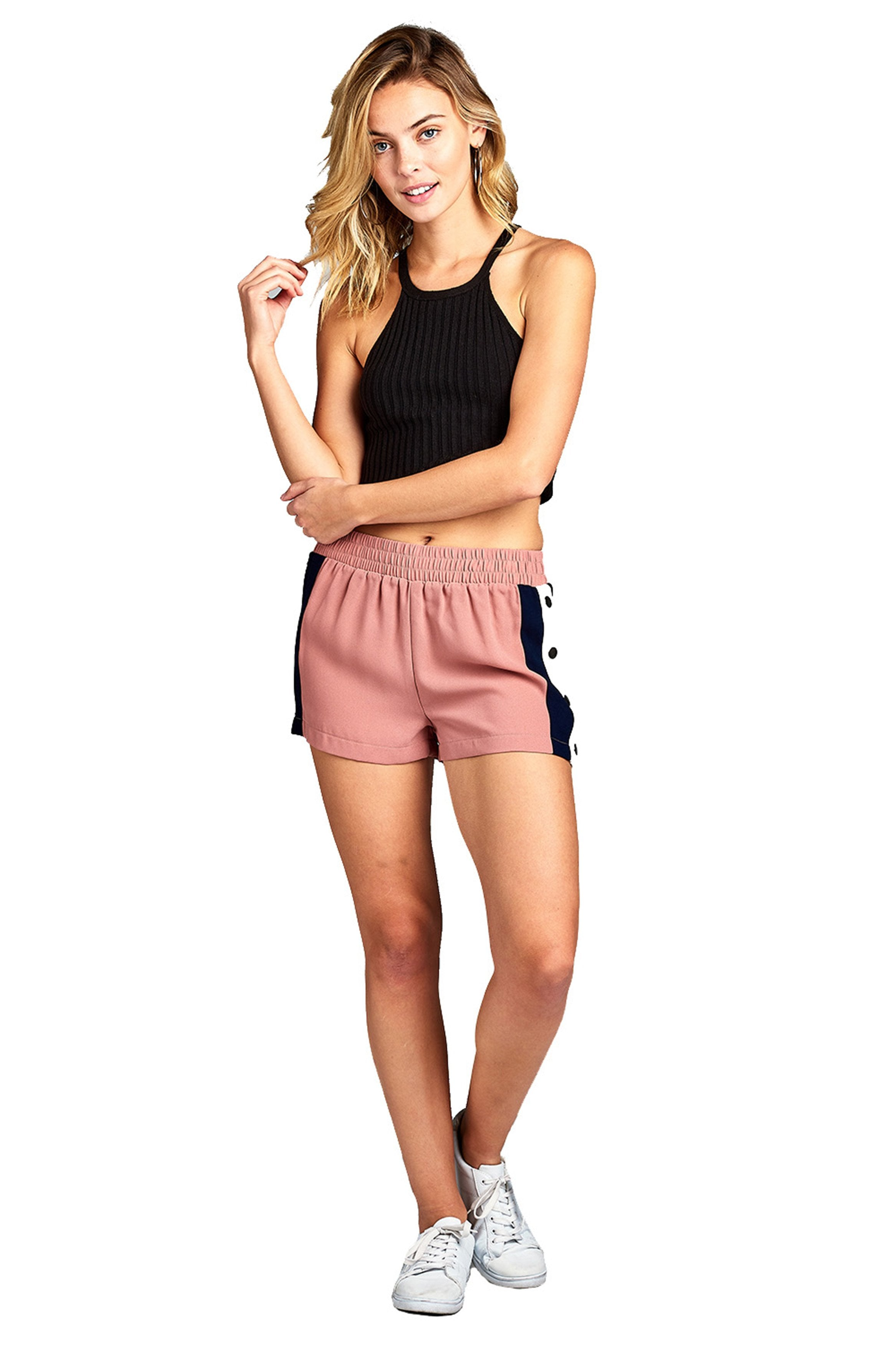 Elastic Waist Snap-On With Side Contrast Button Tearaway light Weight Shorts