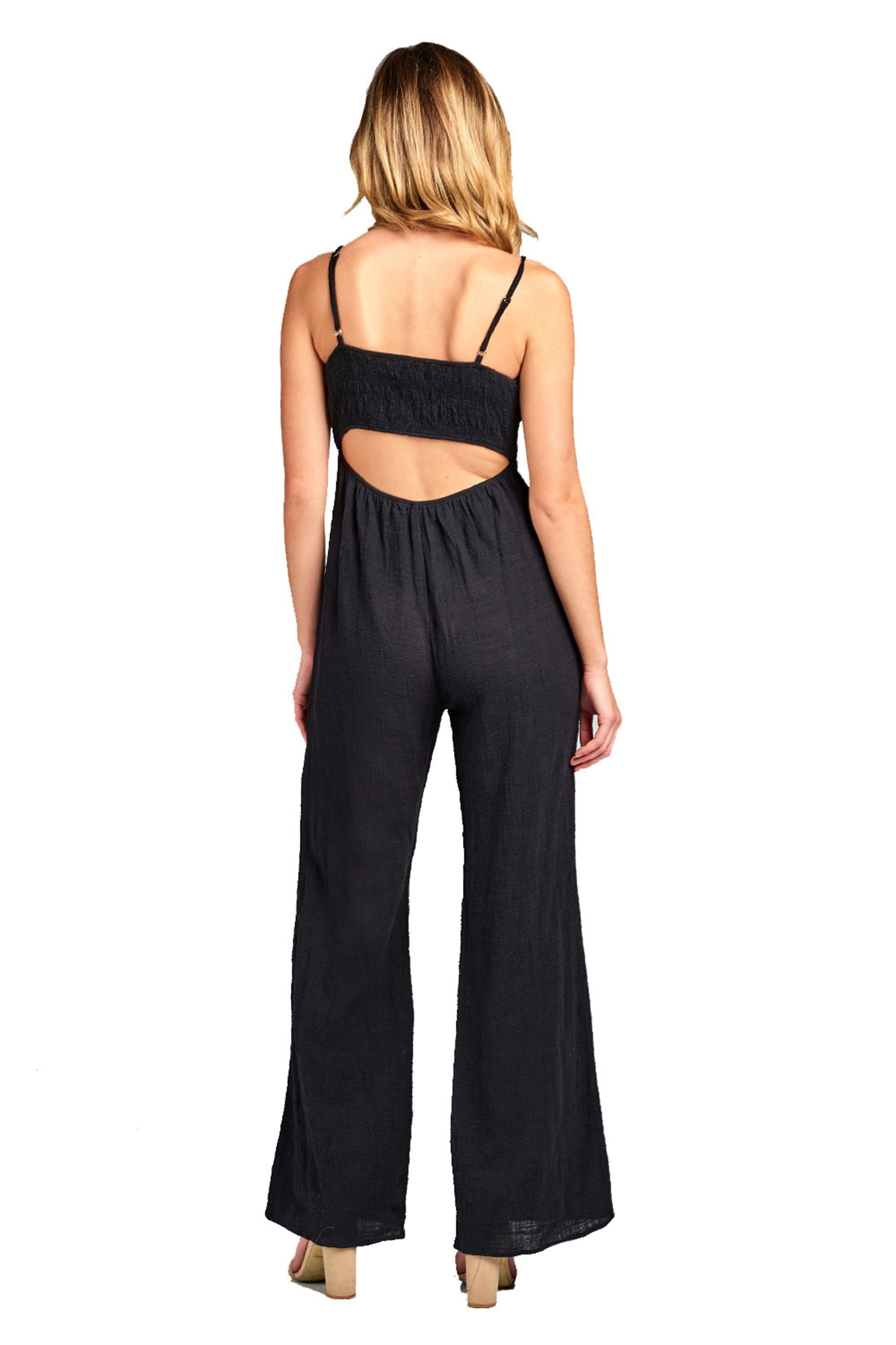 Sleeveless Cami Adjustable Straps Scoop Neckline Knotted Front Wide Leg Jumpsuit