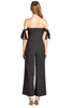 Elasticized Hem Tube Self-Tie Bow Sleeves Wide Palazzo Leg With Back Zipper Jumpsuit