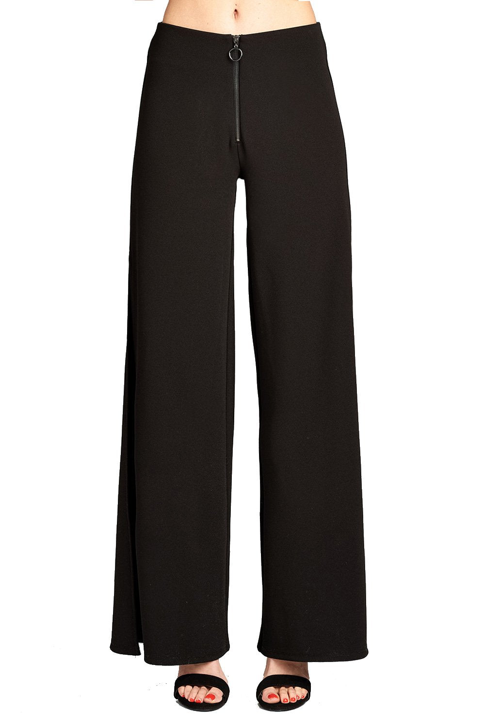 Khanomak Women's Vintage High Waist Zip Front Stretch Crepe Flare Pants