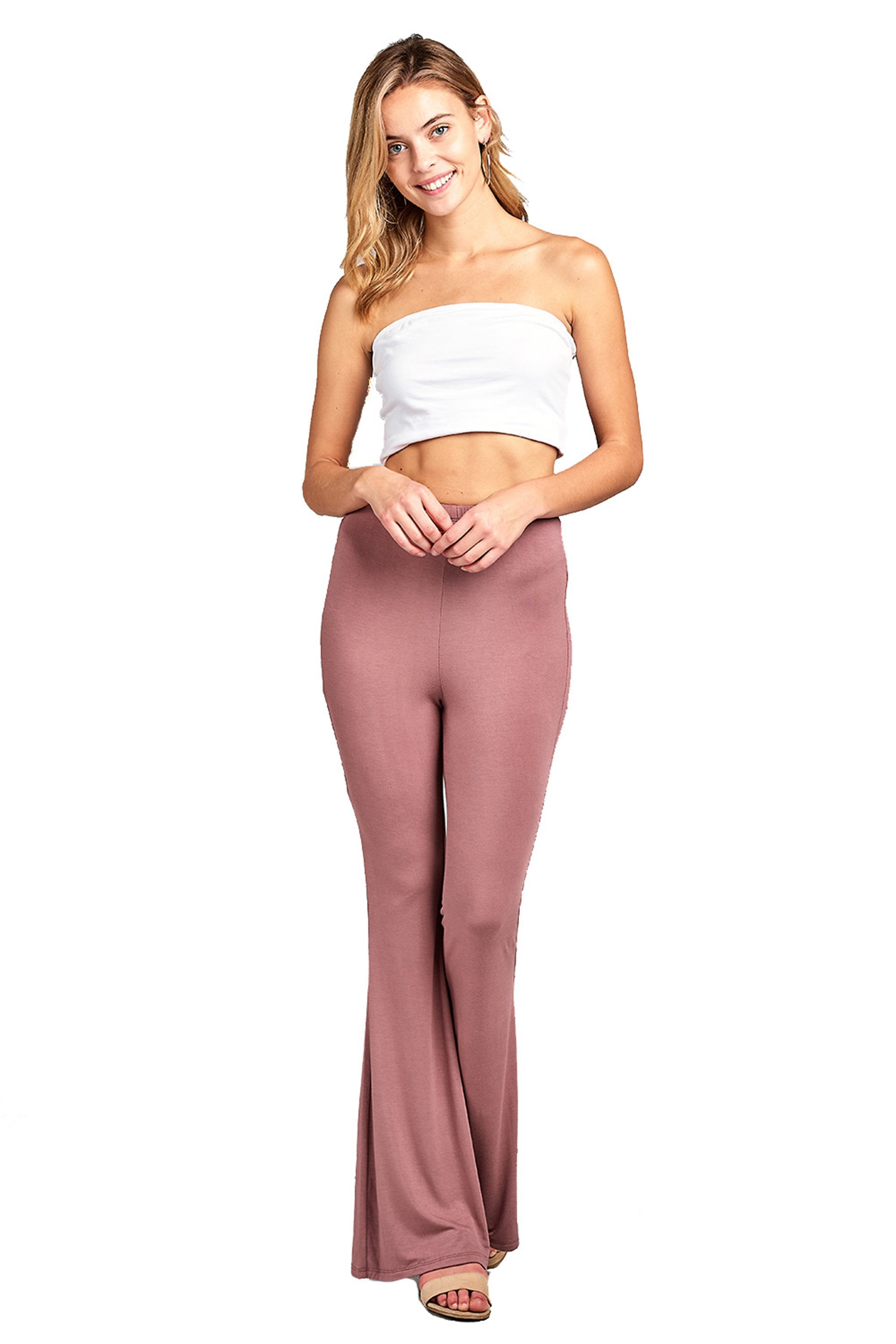 Elastic Waist Bell Bottom Stretch Flared Solid Long Wide Leg Legging Pants