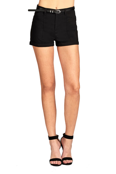 Khanomak Women's Casual Stretch Belted Bengaline Short Pants